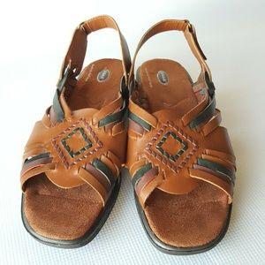 Dr. Scholl's Brown Leather Huarache Sandals Sz.11